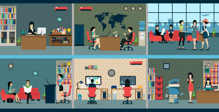 design office: Employees who work in various departments in the area.