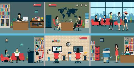oficina: Los empleados que trabajan en los diferentes departamentos de la zona. Vectores