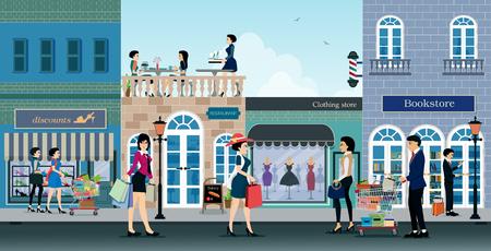 사람들은 배경으로 패션 매장에서 쇼핑을하고 있습니다. 일러스트