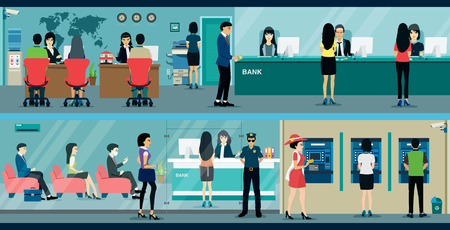 bank interior: Public access to financial services to banks. Illustration