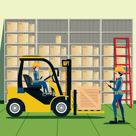 warehouse interior: Forklift Driver List of products in warehouse. Illustration