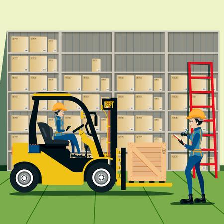 Heftruckchauffeur Lijst van producten in het magazijn.