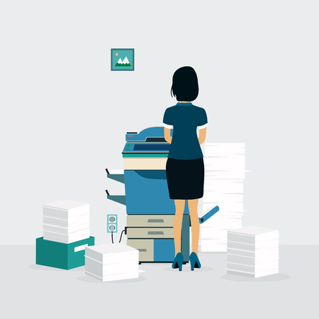 copying: Female employees are copying documents with the copier.