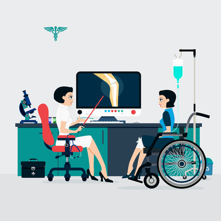 physical therapist: Medicine shows that patients with bone fractures to understand. Illustration