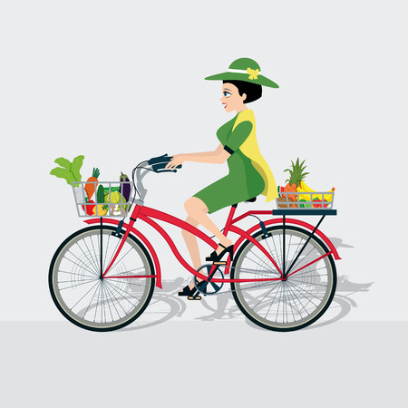 peasant woman: Women are driving a bike with a basket of fruits and vegetables.