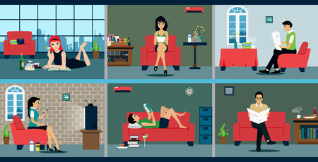 lifestyle: Man and woman relaxing with a book at home. Illustration