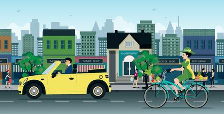 Der Verkehr von Autos und Motorrädern auf Straßen der Stadt.
