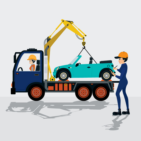 service lift: The driver of the car towing service lift car accident.
