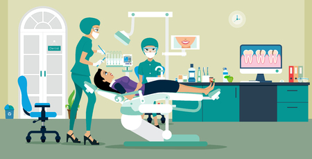 Woman Dentist dental treatment to patients in the room.