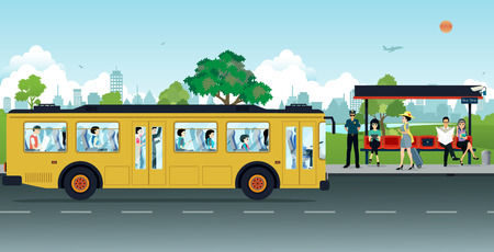passengers: The yellow bus was parked up passengers at bus stops.
