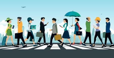 Empresario caminando sobre el paso de peatones con la ciudad como telón de fondo. Ilustración de vector