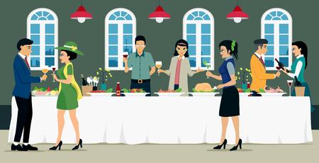 식품 및 와인과 함께하는 남녀와의 연회 식사.