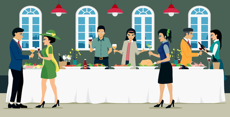 wedding table decor: Banquet meals with men and women with food and wine. Illustration