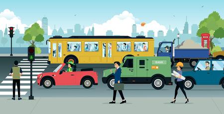 chofer de autobus: Coches en el camino hay atascos de tráfico en la ciudad.