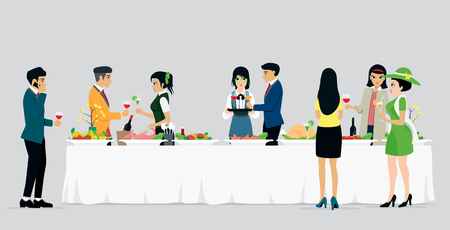 Men and women are celebrating a banquet with a gray background.