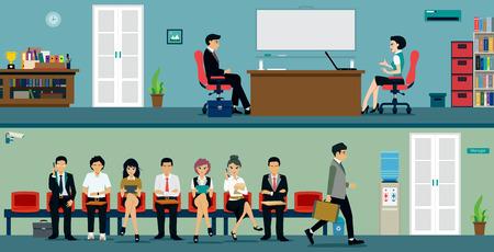 Mannen en vrouwen te wachten op een sollicitatiegesprek.