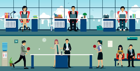 work table: Men and women playing table tennis at work. Illustration