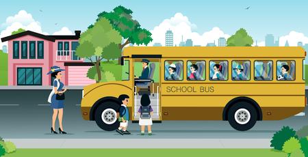 madre están enviando a sus hijos a la escuela autobús. Ilustración de vector