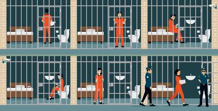 교도소 수감자는 경비원이 시계를 유지합니다. 일러스트