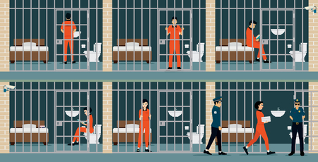 lock block: Prison inmates are security guards keep watch. Illustration
