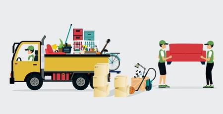 Werknemers vervoersdiensten en professionele diensten leveren. Vector Illustratie