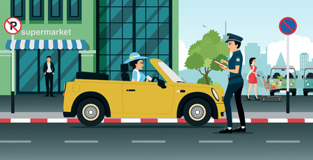 driver license: Traffic police are writing prescriptions for making illegal traffic. Illustration
