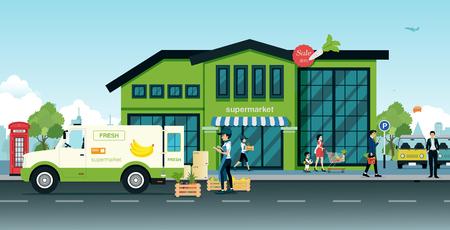 Bestelwagens brengen groenten en fruit geleverd aan de supermarkt.