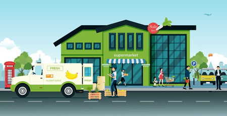 delivered: Delivery trucks bring vegetables and fruit delivered to the supermarket. Illustration