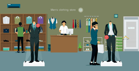 clothing store: Mens clothing store with salespeople and customers. Illustration