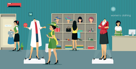 clothing store: Womens clothing store with salespeople and customers.