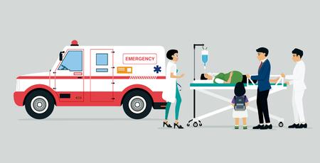 pacjent: Pojazdy ratunkowe z lekarzy i pacjentów i rodzin pacjentów. Ilustracja