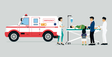 Emergency vehicles with doctors and patients and families of patients.
