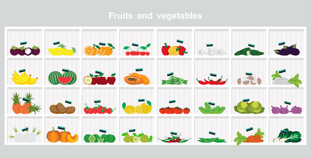 Shelves with fruits and vegetables a gray background.