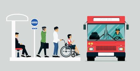 Las personas con discapacidad están usando el autobús para personas con discapacidad.