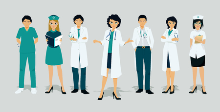 a physician: Doctors team in uniform with a gray background.