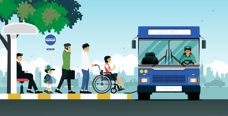 Osoby niepełnosprawne korzystają z autobusu dla osób niepełnosprawnych. Ilustracje wektorowe