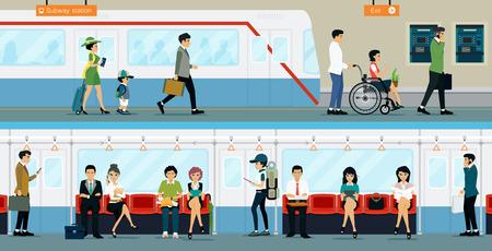 장애를 가진 근로자 사람들은 지하철로 이동합니다.