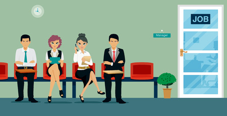 Workers are sitting waiting for a job interview. Ilustracja