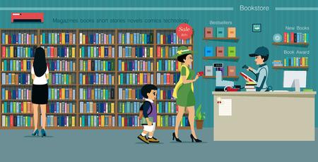 Kobiety kupują książki za pomocą karty kredytowej w księgarni. Ilustracje wektorowe