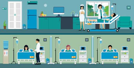 Patients in a hospital room with a great room and a common room.
