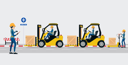Employees are shipping warehouse By forklift And staffed check.