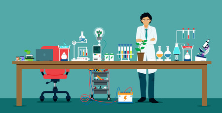 Scientists in laboratories with equipment for science experiments. Illustration