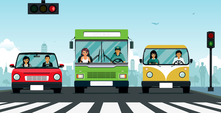 Car and bus stop at the traffic light at the crosswalk. Ilustracja