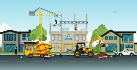 Construction and home renovation with cranes and engineers oversee safety first.