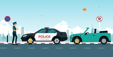 La police écrit un billet de la circulation à une voiture garée dans un pas de parking.