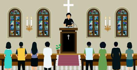 목사는 교회에서 대중의 말을 듣고 설교를하고있었습니다. 일러스트