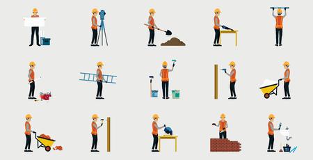 Pracowników budowlanych w mundurze z bezpieczeństwem w miejscu pracy.