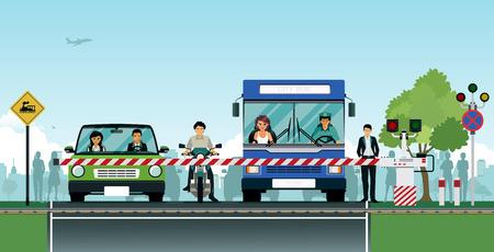 De kruising met de weg te trainen met auto's veilig te wachten. Vector Illustratie