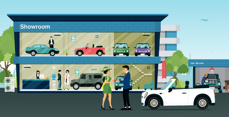 Employees wholesale car keys to the buyer at the showroom. Illustration