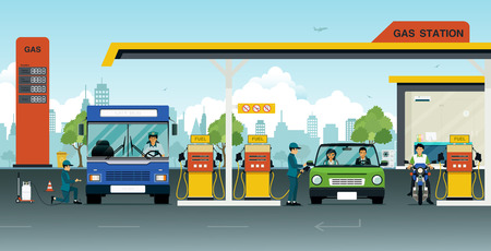 refuel: Pump oil with cars and bicycles to use. Illustration